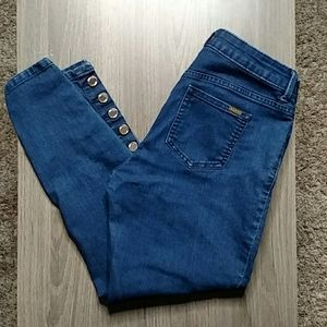 Jennifer Lopez Mid Rise Skinny Ankle Button Jeans